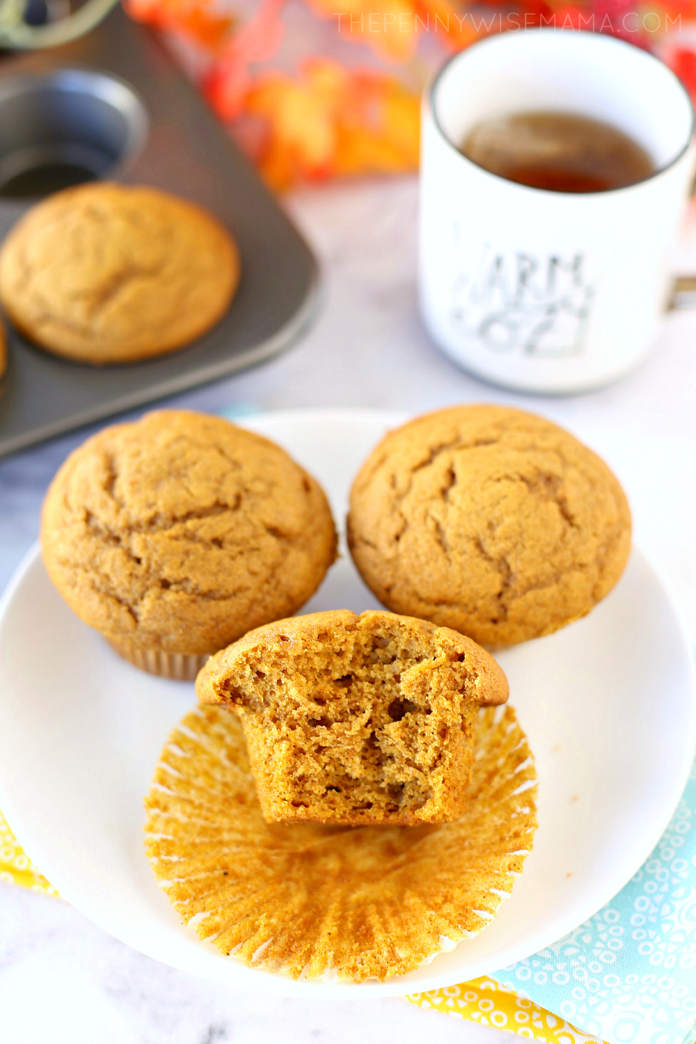 The BEST Pumpkin Muffin Recipe! Super moist and full of flavor - click to get the easy recipe!