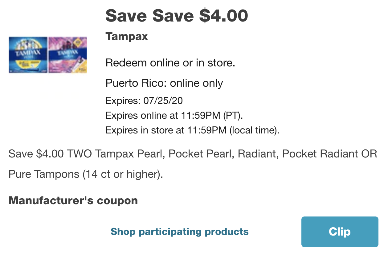 New $4 off Tampax coupon